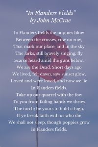 Poppy Poem The Flanders Fields John McCrae Memorial Day 2019 Day of Remembrance Military Sacrifice